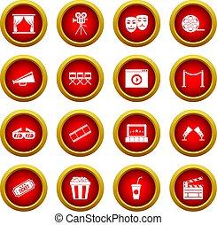Cinema icon red circle set