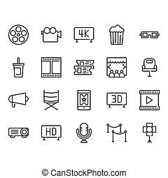 Cinema icon set. Vector illustration