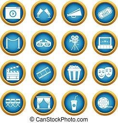 Cinema icons blue circle set