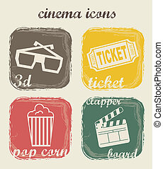 cinema icons over white background. vector illustration
