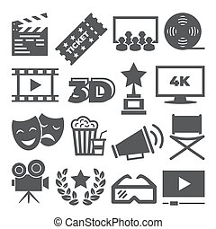 Cinema icons on white background