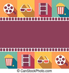 Cinema icons set. Flat style signs vector illustration -...