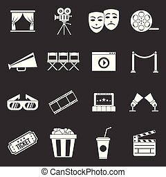 Cinema icons set grey vector