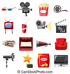 Cinema icons set in cartoon style