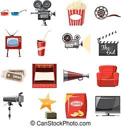 Cinema icons set in cartoon style