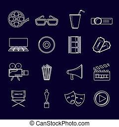 Cinema icons set outline
