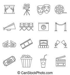 Cinema icons set, outline style