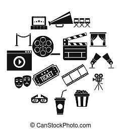 Cinema icons set, simple style
