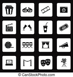 Cinema icons set, simple style