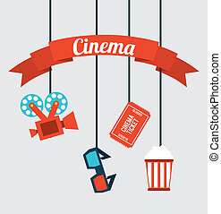 Cinema Icons hanging on white background, vector...