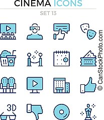 Cinema icons. Vector line icons set. Premium quality. Simple thin line design. Modern outline symbols, pictograms