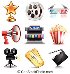 Cinema icons detailed photo realistic vector set