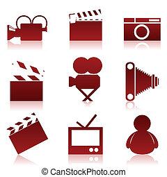 Cinema icons2 - Set of icons on a cinema theme. A vector ...