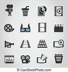 Cinema icons4 - Set of icons of cinema. A vector ...