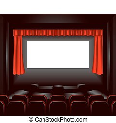 cinema illustration - a blank cinema screen lighting up a ...