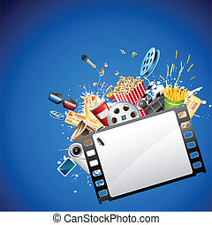 illustration of pop corn, reel and clapper board popping out from film reel