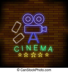 Cinema Light Neon Sign. Colored Signboard. Bright Street Banner.