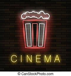 Cinema Light Neon Sign on Brick Background. Colored Signboard. Bright Glowing Banner with Popcorn Icon