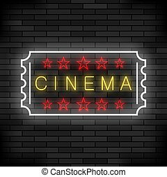 Cinema Light Neon Sign on Brick Background. Movie Colored Signboard. Bright Street Banner.