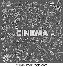 Cinema line art design vector illustration