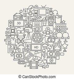 Cinema Line Icons Circle