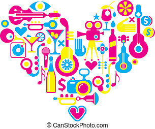 Cinema love - heart with many vector icons