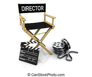 cinema maker - 3d illustration of director chair with ...