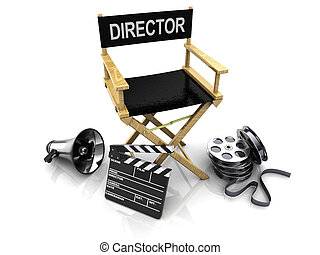 cinema making - 3d illustration of director chair, and over...