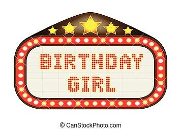 Cinema Marquee Birthday Girl - A Birthday Girl movie theatre...