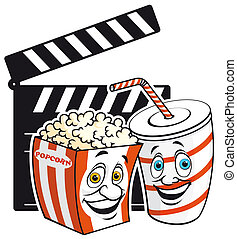 Cinema mascots - Isolated illustration Popcorn amd drink...