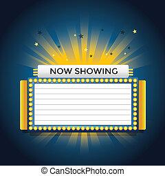 cinema, mostrando, néon, retro, agora, sinal.