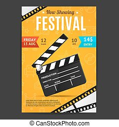 Cinema Movie Festival Poster Card Template. Vector