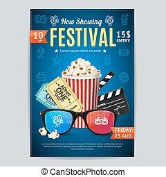 Cinema Movie Festival Poster Card Template. Vector