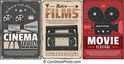 Cinema festival of retro movie vector posters. Film camera, reel and vintage projector, video tape cassettes, clapperboard and film frames. Entertainment and video production themes design