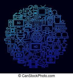Cinema Movie Icon Circle Concept