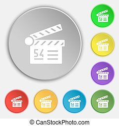 Cinema, movie icon sign. Symbol on eight flat buttons. Vector