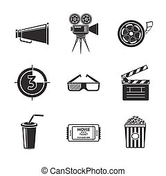 Cinema, movie icons set with -  projector, film strip, 3D glasses, clapboard, popcorn in a striped tub, cinema ticket, glass of drink.