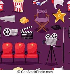Cinema movie making TV show equipment tools symbols icons vector set seamless pattern background .