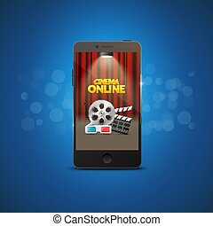 Cinema movie mobile theater design. Vector online film illustration. Online booking ticket app. Smartphone with cinema curtains