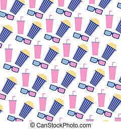 cinema movie popcorn soda 3d glasses background