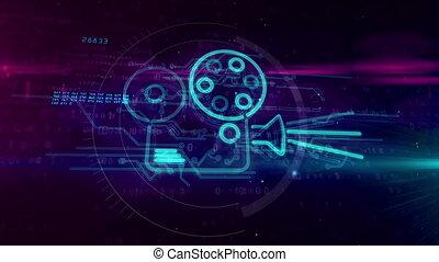 Cinema movie projector player 3D hologram - Retro movie...