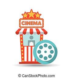cinema movie ticket office. film reel graphic