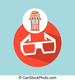 cinema movie ticket office. glasses 3d graphic