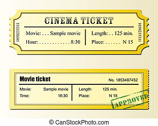 Cinema movie tickets with sample texts