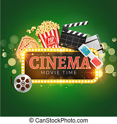 Cinema movie vector poster design template. Popcorn, filmstrip, clapboard, tickets. Movie time background banner shining sign