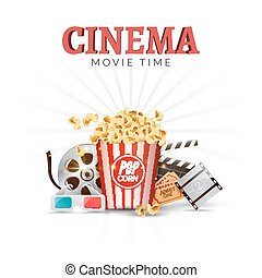 Cinema movie vector poster design template. Popcorn, filmstrip, clapboard, tickets. Movie time background banner