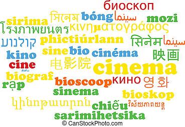 cinema, multilanguage, wordcloud, fondo, concetto
