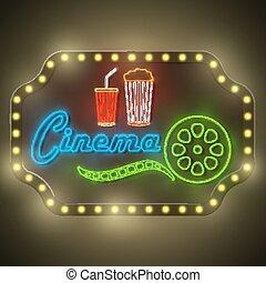 cinema, néon, retro, coloridos, billboard.