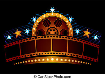 Cinema neon - Gold film strip at neon sign with reel and...