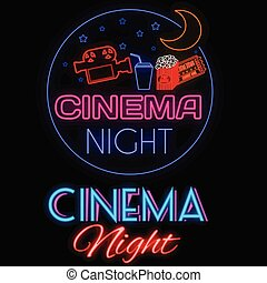 Cinema night glowing neon sign